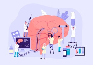 clean up people-working-on-brain-cartoon