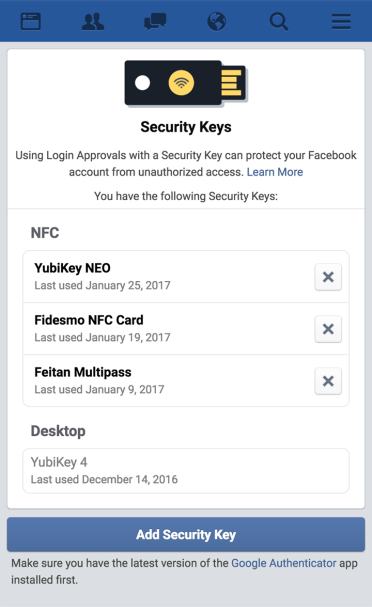 Facebook supports USB security keys