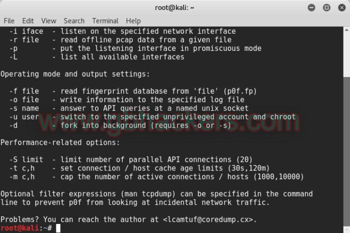 - p0f1 copy - Passive Traffic Analysis OS Fingerprinting and Forensics Tool