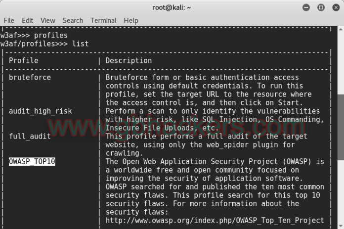 Scanning for OWASP Top 10 Vulnerabilities with w3af  - w3af2 - Scanning for OWASP Top 10 Vulnerabilities with w3af