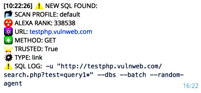 Automated Telegram Based SQLi Vulnerability Scanner