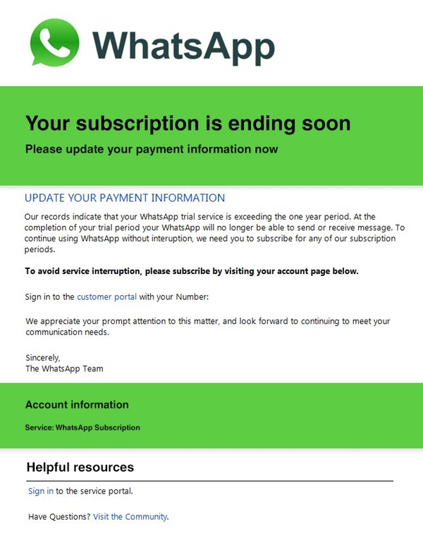 WhatsApp Scam alert Subscription Ending Email or Text