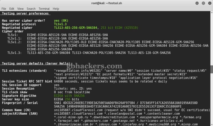 testssl.sh  - 5 - Tool to check TLS/SSL vulnerabilities and Ciphers