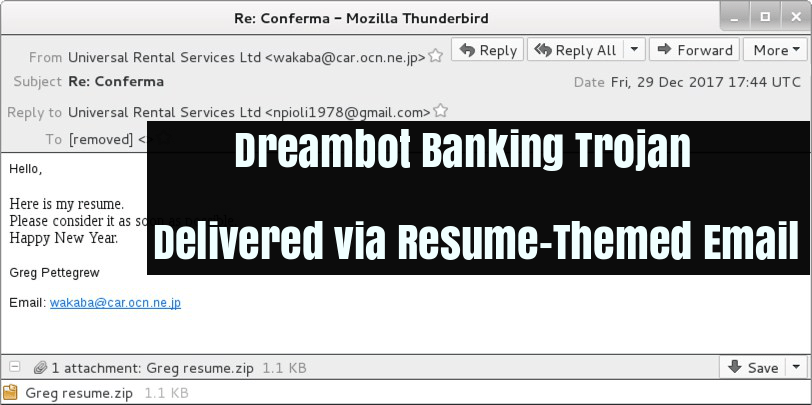 Dreambot banking Trojan which is a variant of Ursnif spreading via resume  themed email, it is one of the most active banking trojans.