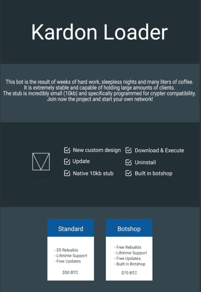 Kardon Loader  - kardon pricing - Kardon Loader Enables Anyone to Build Malware Distribution Network