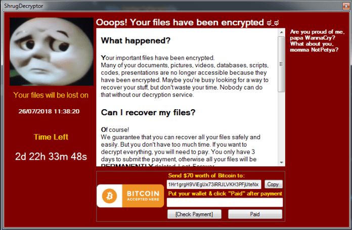 Shrug ransomware  - Fig15 ransom note pic - Shrug2 Ransomware That Encrypts Files Around 76 Different Extensions