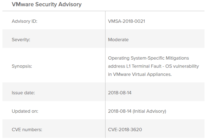 VMware Security Updates  - Vm1 - VMware Security patches for Multiple Vulnerabilities Including L1 Terminal Fault
