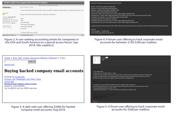 - dark - Hackers Offering Less than $150 to Hack Corporate Email Accounts