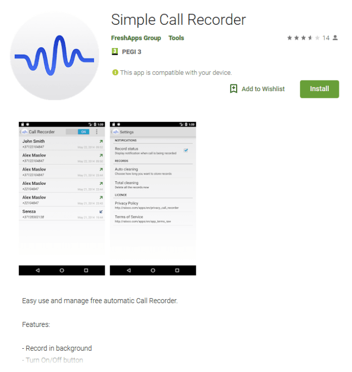 Simple Call Recorder  - Capture 1 - Call Recorder App on Google Play with 5,000 Installs Contains Malware