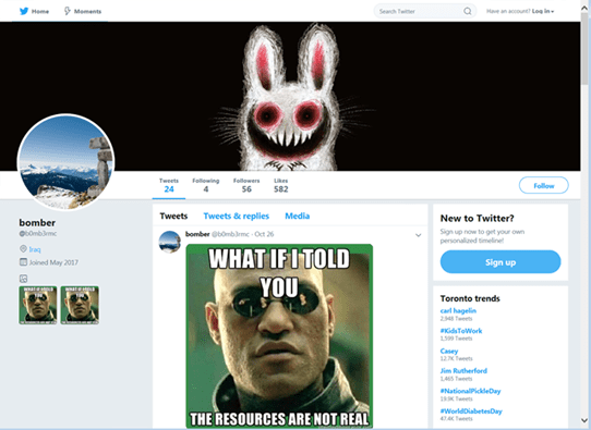 - twitter - Hackers Using Weaponized Memes to Communicate with Malware