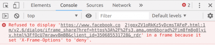 - x frame chromium 768x163 - Clickjacking Bug in Facebook Being Abused By Attackers