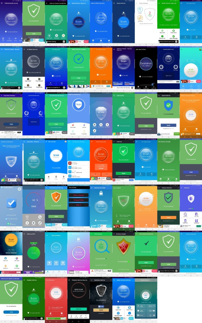 - antivirus apps collage - 138 Android Anti Virus Apps are Frauds in Google Play Store