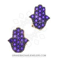 Hamsa Hand of Fatima Silver Earrings GBJ232ER31441