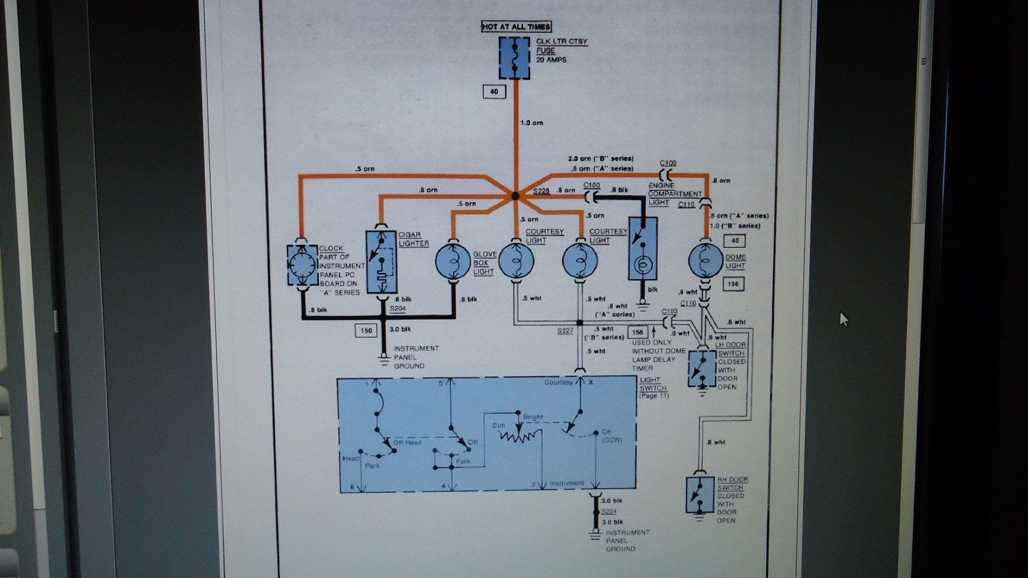 hight resolution of blowing the courtesy fuse gbodyforum 78 88 general motors a g 1972 el camino wiring schematic 1987 el camino wiring diagram ctsy clk