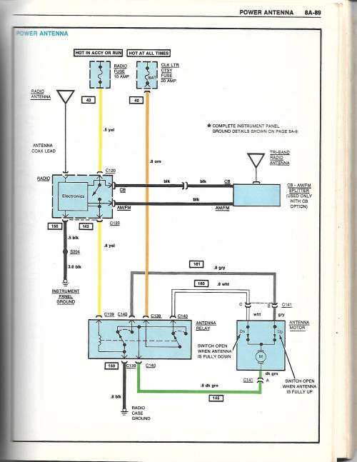 small resolution of here is the diagram for the power antenna out of my 81 chevy book should be the same