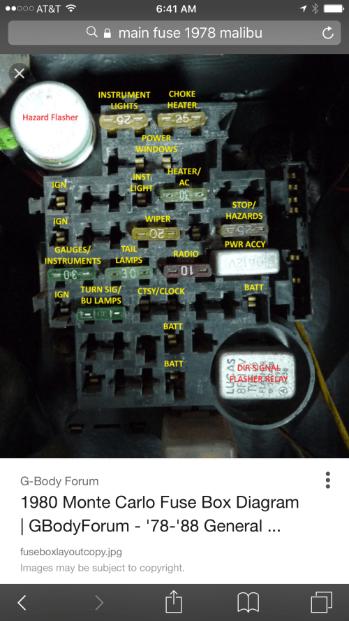small resolution of 78 chevy fuse box location electrical wiring diagrampartial fuse box down gbodyforum u002778