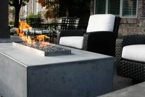 Custom fire feature on patio