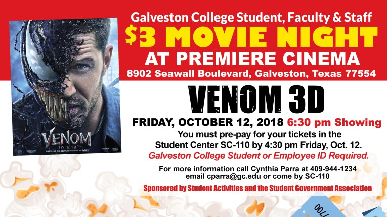 Galveston College Student Activities Movie Night Venom