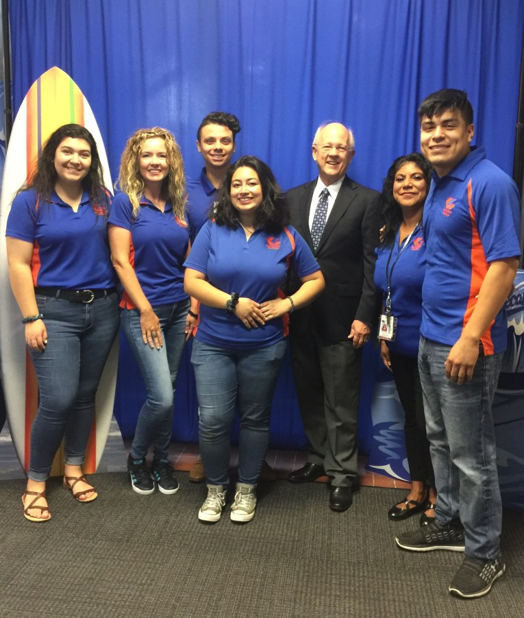 SGA members with President of Galveston College