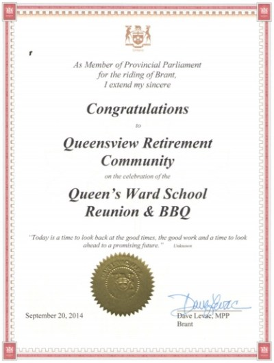 Queensview Retirement Community Award 2014
