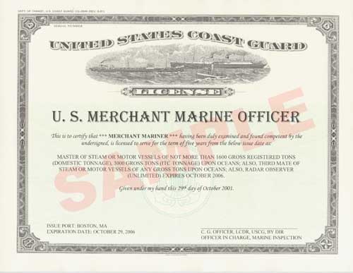 Finally! Merchant Mariner Certificates Suitable For