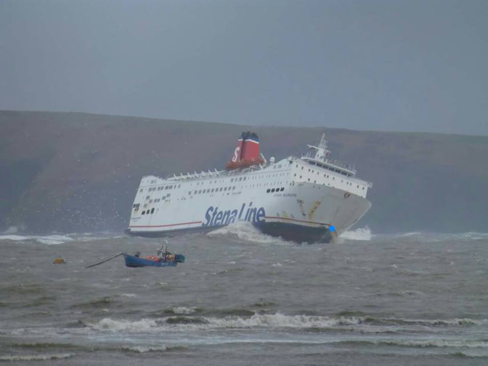 Stena Line Ferry Gets Tossed Entering Fishguard Harbour