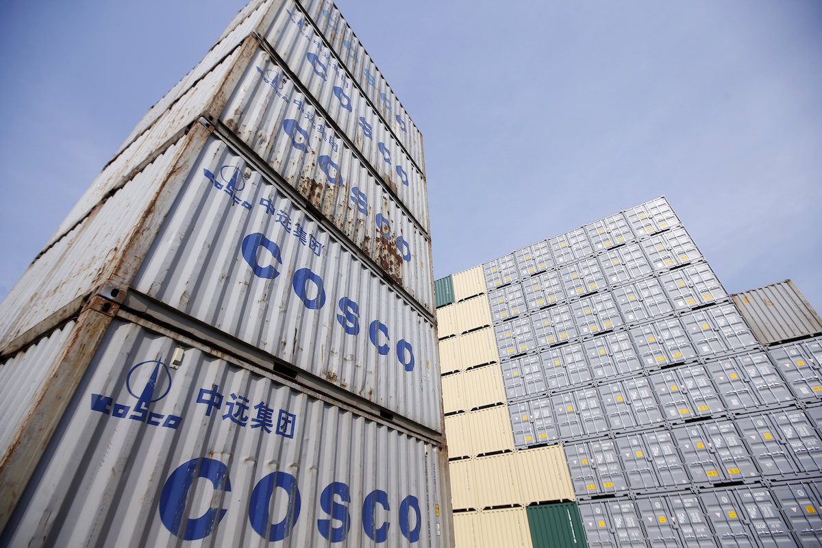 Containers from China Ocean Shipping Company (COSCO) are pictured at a port in Shanghai, China, in this February 17, 2016 file photo. REUTERS/Aly Song/Files