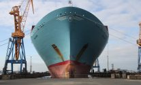 Ship Photos of the Day – Emma Maersk Departs Damen Shiprepair Brest