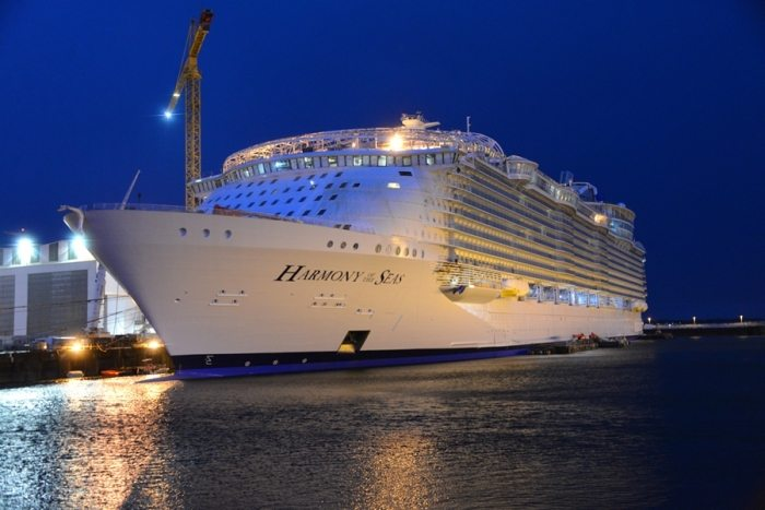 Harmony of the Seas pictured in January 2016 at STX France. Credit: Royal Caribbean