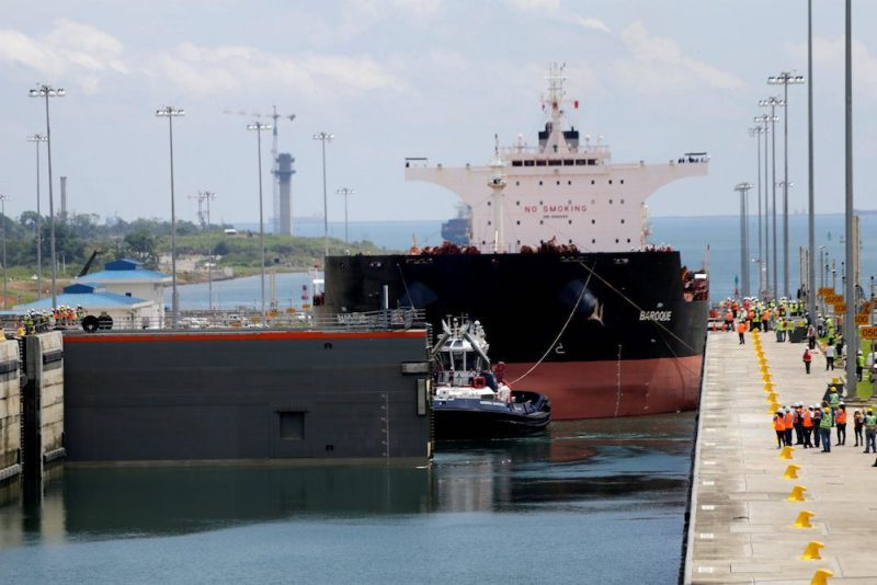 The first trial run with a Post-Panamax cargo ship in the new sets of locks on the Atlantic side of the Panama Canal, in Panama City, Panama June 9, 2016. REUTERS/Carlos Jasso