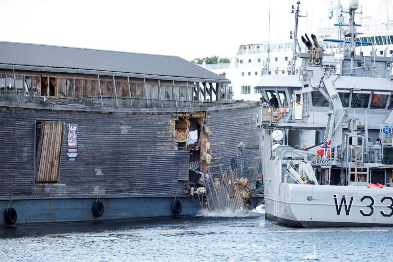 A full-size replica of the Ark of Noah is seen after it crashed into a moored coast guard vessel in Oslo harbour, Norway June 10, 2016. NTB Scanpix/Gorm Kallestad