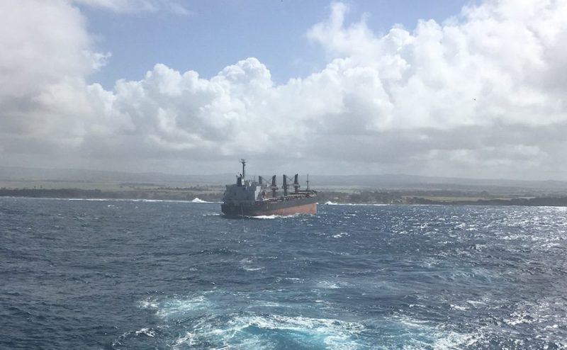 MV Benita during the re-floating operation, Sunday, July 24, 2016. Photo: Five Oceans Salvage