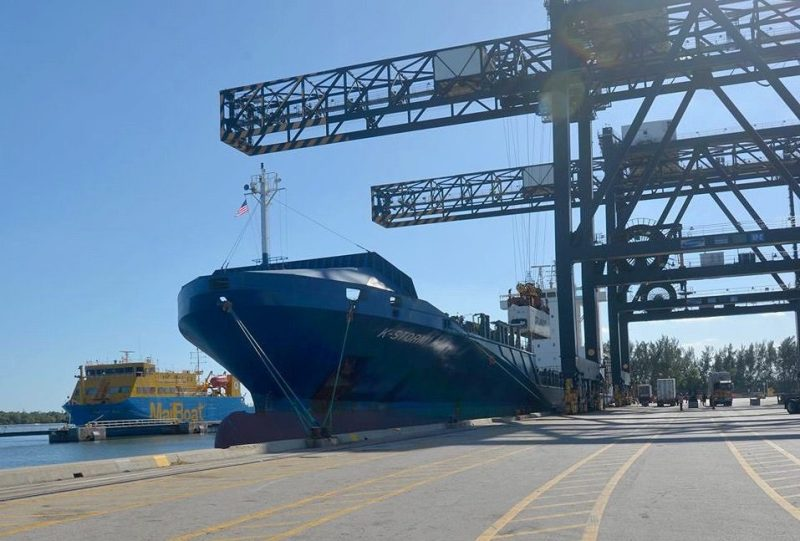 The Crowley containership 'K-Storm' after arriving in Port Everglades with the first commercial cargo imported from Cuba in more than 50 years. Photo: Port Everglades