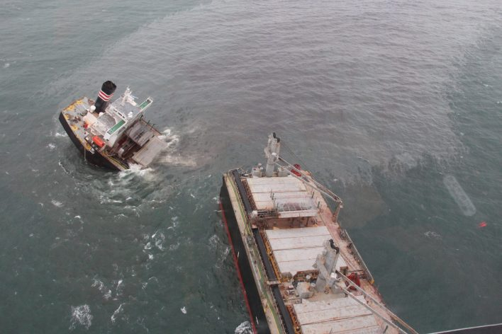 Oil Spills from Wrecked Wood Chip Carrier Crimson Polaris in Japan -Photos