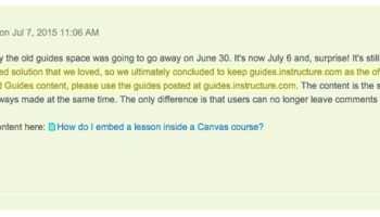 On July 17, 2015 Erin from Instructure announced: We weren't able to find an embed solution that we loved, so we ultimately concluded to keep guides.instructure.com as the official home for link embedding. Therefore, if you want to embed Guides content, please use the guides posted at guides.instructure.com.