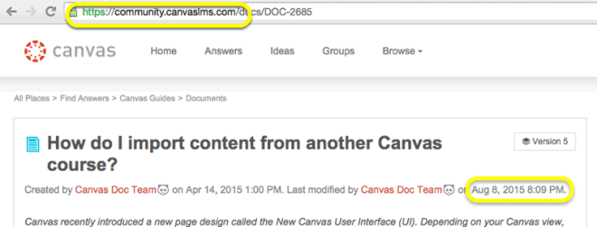Canvas Community Guide on how to import content from another Canvas course,