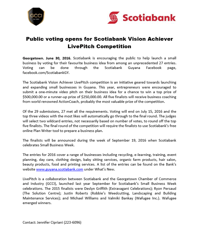 Scotiabank live pitch- voting begins
