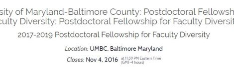 Applications for Postdoctoral Fellows Program for Faculty Diversity @UMBC due 11/4