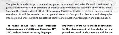 Outstanding Dissertation in Cartography, Geodesy and/or GIS