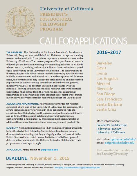 Call for Applications - UC President's Postdoctoral Fellowship
