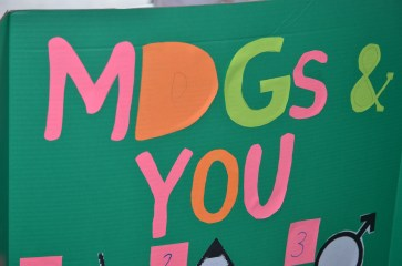 Prep is over...it's showtime! Good-looking signs to represent our classes. MDGs & You.