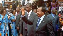 Incumbent Paul Biya waving to supporters at a campaign rally. Source:TheCameroonNews