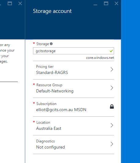 Azure Storage Account Details