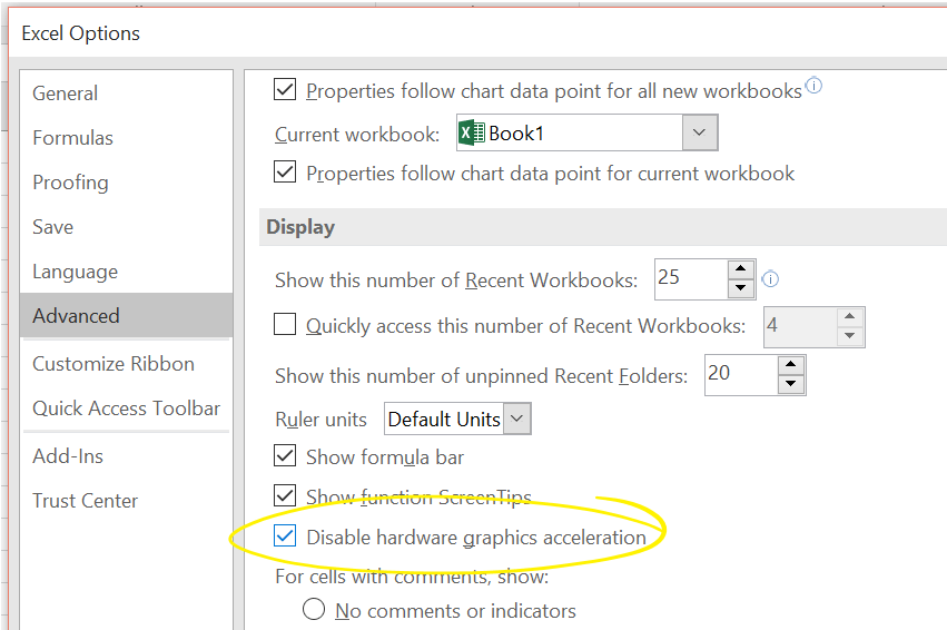 Check Disable Graphics Hardware Acceleration In Excel 2016