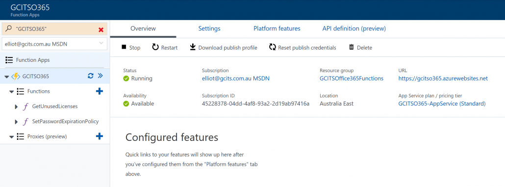 Click Azure Function Settings To Retrieve FTP Details