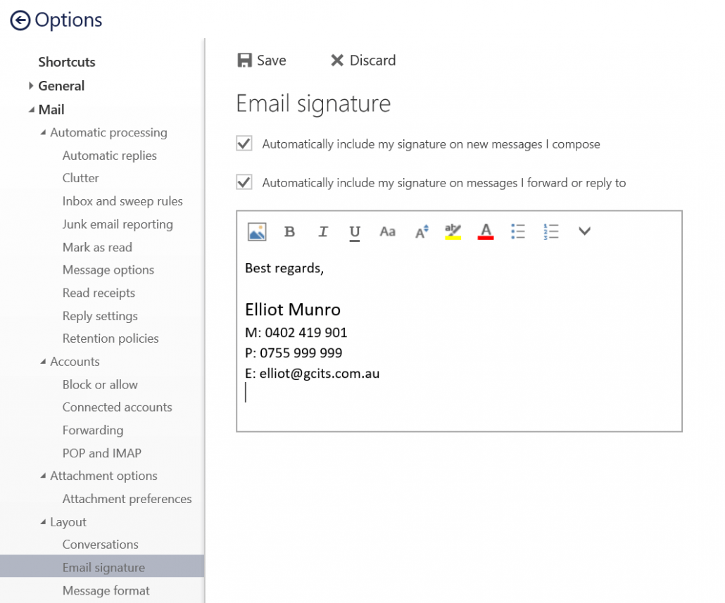Click Signatures And Add Text In Office 365