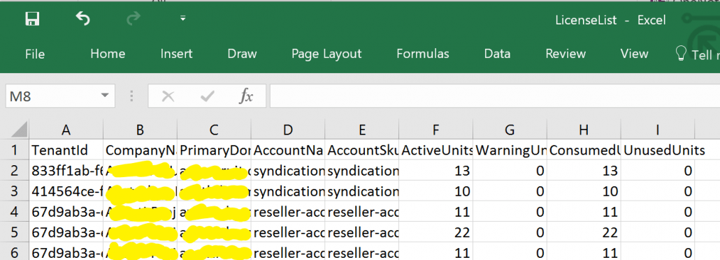 Exported CSV of Unused Office 365 Licenses In Delegated Administration Tenants