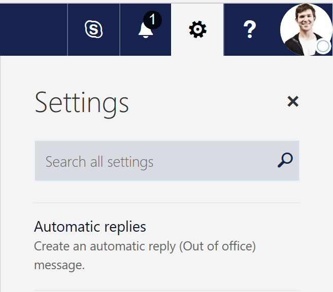 Find The Office 365 Shared Mailbox Automatic Replies Settings Under Settings Cog