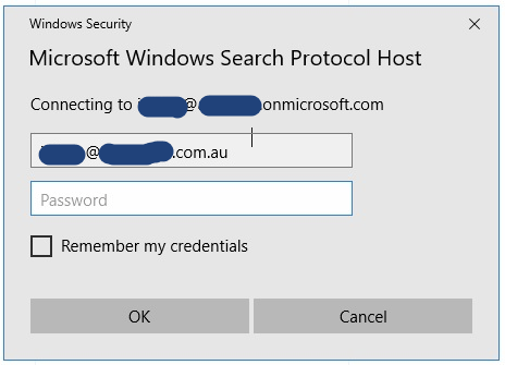 Microsoft Search Protocol Host prompts for mail credentials